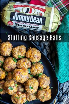 This is the BEST recipe for Stuffing Sausage balls made with sausage bacon stuffing and cheddar cheese. This easy make ahead sausage ball recipe is a great appetizer for holiday parties! for party make ahead holidays Stuffing Sausage Balls Appetizers For A Crowd, Low Carb Appetizers, Thanksgiving Appetizers, Appetizer Recipes, Holiday Appetizers, Sausage Appetizers, Appetizer Ideas, Vegtable Appetizers, Party Appetizers