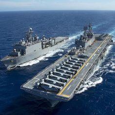 #Repost @usnavy USS Bonhomme Richard (LHD 6) and USS Ashland (LSD 48) maneuver to conduct a replenishment-at-sea. #USNavy #Ships #GatorNavy #PlatformsMatter #Sea #Military by militarytopics