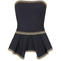 Sass & Bide Number 8 Bustier Top (23,315 INR) ❤ liked on Polyvore featuring tops, shirts, corset, tube tops, french navy, blue top, blue corset top, navy peplum top, peplum tops and corset tops