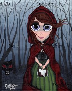 """""""Red Riding Hood"""" A 8x 10 acrylic on stretched canvas. By Della Daughtry #bigeyeart"""