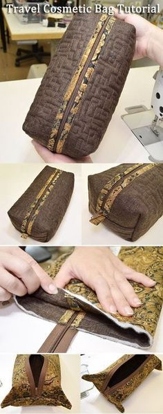 Sewing Bags Bolsas … - I suggest you make a simple, but very convenient travel cosmetic bag. Patchwork Bags, Quilted Bag, Sewing Patterns Free, Free Sewing, Free Pattern, Pattern Sewing, Purse Patterns, Sewing Hacks, Sewing Tutorials