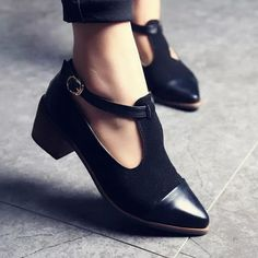 Trendy Splice Pointed Toes Cuban Low Heels Ankle Strap Platform PUMPS Shoes