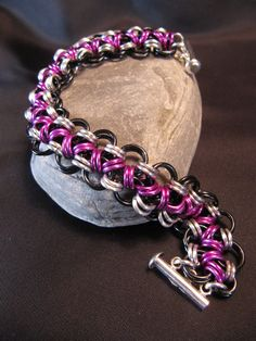Purple Black and Silver Chainmaille bracelet by MischiefOfMice, $35.00