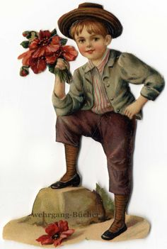 Vintage Victorian die cut paper scrap, Boy with flowers, from c. 1880