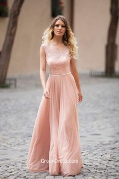 ILLUSION LACE BOAT NECK SLEEVELESS DUSTY PINK LONG A-LINE MODEST PROM DRESS - Imgur