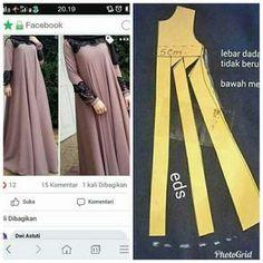 Transformar patrón para vestido neas , – Tesettür Elbise Modelleri 2020 – Tesettür Modelleri ve Modası 2019 ve 2020 Sewing Dress, Dress Sewing Patterns, Sewing Clothes, Clothing Patterns, Diy Clothes, Abaya Fashion, Muslim Fashion, Fashion Dresses, Modesty Fashion