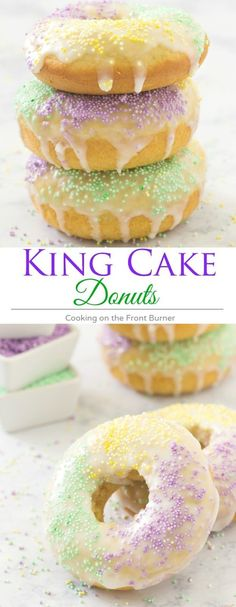 Perfect for Mardi Gras are these baked King Cake Donuts with a light glaze and fun sprinkles! (Chocolate Glaze For Donuts) Donut Recipes, Cake Recipes, Dessert Recipes, Breakfast Recipes, Beignets, Donut King, King Cake Recipe, Baked Donuts, Donuts Donuts