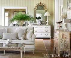 Re-purposed dressers in living room.  Romantic Rooms and Decorating Ideas | Traditional Home