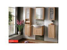 Atraktívna kúpeľňová zostava PIANO v obľúbenom farebnom prevedení dub sonoma.