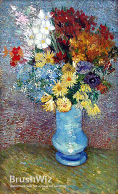Flowers In A Blue Vase by Vincent Van Gogh - Oil Painting Reproduction - BrushWiz.com