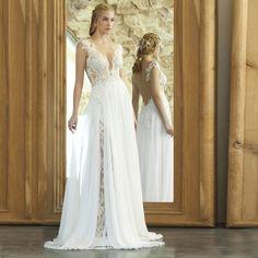 Vintage del cordón bohemio vestido De boda 2016 sin respaldo Beach Wedding Dresses Simple De la gasa De Boho vestido nupcial Vestidos De Noiva
