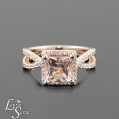 Rose Gold Princess Cut Morganite Engagement Ring. In love.