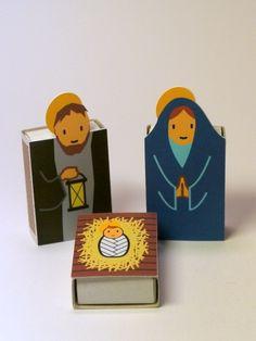 Presépio de natal com caixas de fósforos