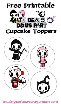 Free Printable tokidoki 'Til Death Do Us Part Cupcake toppers Halloween Activities, Halloween Projects, Halloween Ideas, Best Blogs, Invite Your Friends, Cupcake Toppers, Free Printables, Birthday Parties, About Me Blog