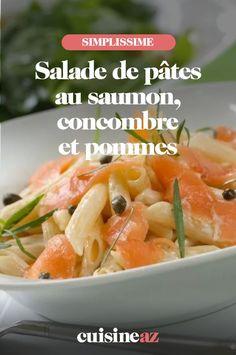 Une recette de salade de pâtes sucrée salée avec du saumon, du concombre et de la pomme. #recette#cuisine #salade #pates #saladedepates #saumon #concombre Cantaloupe, Meat, Chicken, Fruit, Food, Pasta Salad, Chopped Salads, Cucumber, Apple