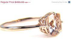 SALE Morganite Ring - Rose Gold Morganite Ring - Pink Gemstone - Gift for Her - Rose Gold Ring - Cushion Cut Morganite. $396.00, via Etsy.