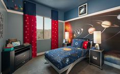 Interior: Modern Kids Bedroom Interior Design With Solar System Kids Bedding And The Wallpaper Decor Ideas: Inspiring Interior Idea with Outer Space Theme Boys Room Decor, Boy Room, Kids Room, Chambre Nolan, Kids Bedside Table, Outer Space Bedroom, Modern Kids Bedroom, Sistema Solar, Awesome Bedrooms