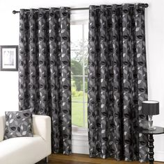 Allen lined eyelet curtains. Matching cushions available. The Range.