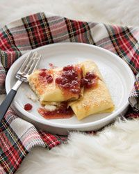 Ricotta Blintzes with Lingonberry Syrup Recipe - Tory Miller Breakfast For A Crowd, Sweet Breakfast, Food For A Crowd, Morning Breakfast, Breakfast Nook, Brunch Recipes, Wine Recipes, Breakfast Recipes, Cooking Recipes