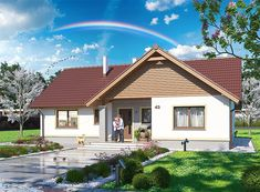 Projekt domu Tracja 3 117,19 m2 - koszt budowy 255 tys. zł - EXTRADOM Home Fashion, Mansions, House Styles, Home Decor, Country Houses, Little Cottages, Living Room, Projects, Decoration Home