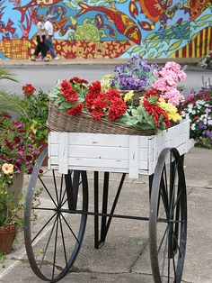 """I love this wall mural on the hardware store where the local """"tomato lady"""" sells her vegetables. Flower Cart, Fairhope, Alabama"""