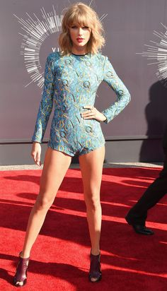 She's Daring and Amazing: Taylor Swift in Mary Katrantzou monogram embellished romper + peep-toe maroon booties at MTV Video Music Awards 2014 #VMAs #VMA2014 #BestDressed