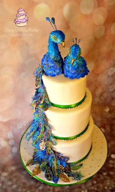 Peacock Wedding Cake - Cake by LeeAnn Wells