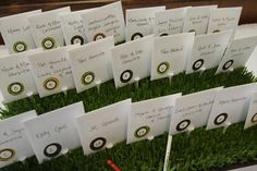 wedding place card idea (golf course wedding)