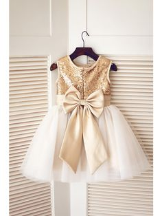 A-line Knee-length Flower Girl Dress - Tulle / Sequined Sleeveless Jewel with Bow(s) / Sequins - USD $49.99