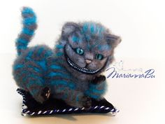 "Needle felted cat ""Cheshire cat"" - pinned by pin4etsy.com"