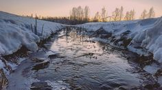 Pretty but freezing evening  #landscape #nature #water #snow #winter #sunset by ainoamygdala
