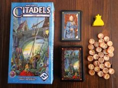 Citadels card game: needs players, each choose a role card and race to create 8 buildings. Bluffing game like solitaire All Card Games, Uno Card Game, Family Card Games, Uno Cards, Playing Card Games, Board Game Pieces, Board Games, Fun Math Games, Games To Play