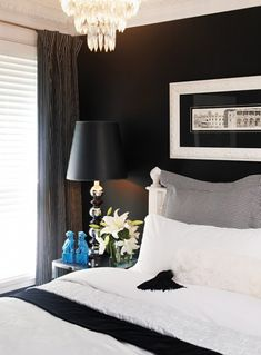 Black Bedroom #bedroom décor, beds, headboards, four poster, canopy, tufted, wooden, classical, contemporary bedroom, nightstand, walls, flooring, rugs, lamps, ceiling, window treatments, murals, art, lighting, mattress, bed linens, home décor, #interiordesign bedspreads, platform beds, leather, wooden beds, sofabed