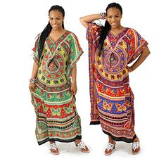 Royal Elephant Kaftan $9.95 Eclectic motif of elephants and butterflies cover this dashing kaftan. Drawstring in midriff. C-WS754 Visit us at: africaimports.com