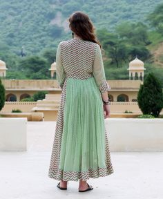 Mint Green Chiffon Anarkali Dress with Solid Pants Sleeves Designs For Dresses, Dress Neck Designs, Stylish Dress Designs, Churidar Designs, Kurta Designs Women, Stylish Dresses For Girls, Wedding Dresses For Girls, Indian Designer Outfits, Designer Dresses