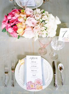 Spring Watercolor Wedding Inspiration | Elle Golden Photography on @AislePerfect via @aislesociety
