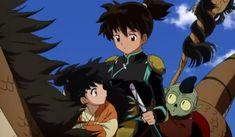Rin, Kohaku, and Jaken riding Ah-Un - InuYasha screenshot screencap