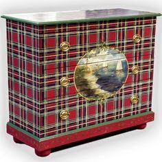 Today, April is National Tartan Day, a day for Scottish Americans to celebrate their history and contributions to the USA. Accent Furniture, Painted Furniture, Gold Furniture, Furniture Ideas, National Tartan Day, Caravan, Tartan Decor, Scottish Decor, Tartan Christmas