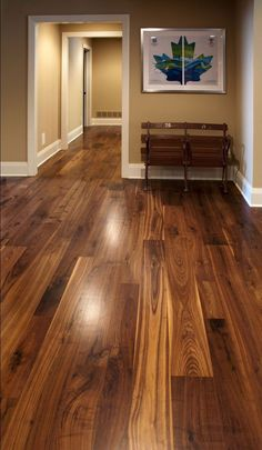 This walnut wide plank flooring is cut from dead or fallen virgin wood timbers that are centuries old, walnut features a rich blend of coffee-colored browns with occasional touches of caramel from its light sapwood. It offers an extraordinarily tight grai Walnut Hardwood Flooring, Hardwood Floor Colors, Wide Plank Flooring, Wooden Flooring, Kitchen Flooring, Flooring Ideas, Laminate Flooring, Engineered Hardwood, Parquet Flooring