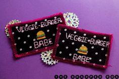 Veggie burger babe handmade polka dot patch by TheSharpedBox