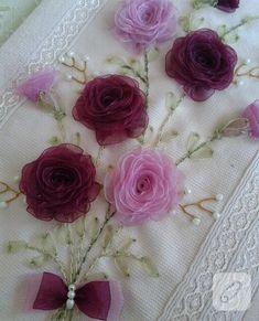 pembe bordo çiçekli kurdele nakışı havlu kenarı