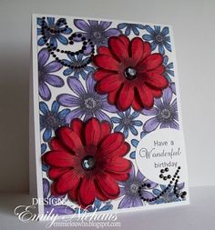 Heartfelt Creations | Wonderful Birthday Daisies - love how the red pops on the black & white...and those touches of blue....perfect