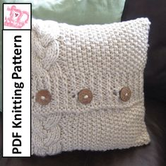 Braided Cable super chunky 16 x 16 pillow cover by LadyshipDesigns