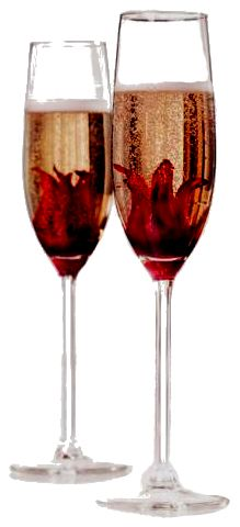 Hibiscus flowers in syrup in champagne.