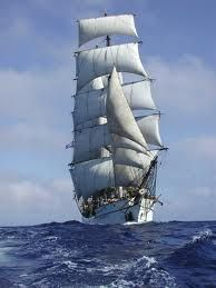 Barque Picton Castle, a three-masted sail training ship based in Lunenburg, Nova Scotia. Picton Castle Under Full Sail. Anchored behind her in a cove in Maine. Tall Ship Cruises, Bateau Yacht, Old Sailing Ships, Full Sail, Sail Away, Tall Ships, Water Crafts, Photos, Sailboats