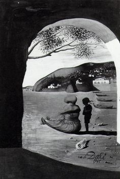 Salvador Dali >> Mysterious Mouth Appearing in the Back of My Nurse, 1941  |  (Oil, artwork, reproduction, copy, painting).