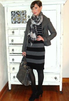 striped dress, printed scarf
