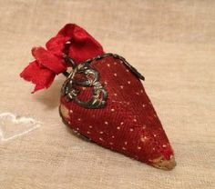 Antique Victorian Strawberry Emery w/Sterling Top; Circa 1800's