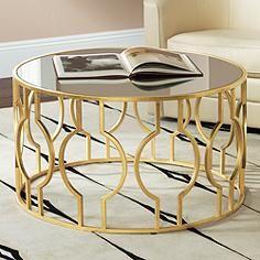 Fara Antique Gold Leaf Round Coffee Table