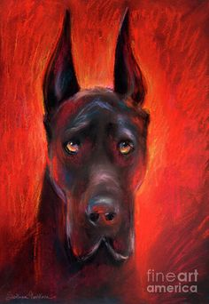 Black Great Dane dog painting Painting
